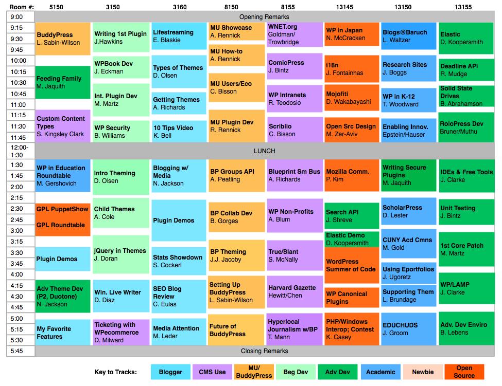 Saturday Schedule Grid